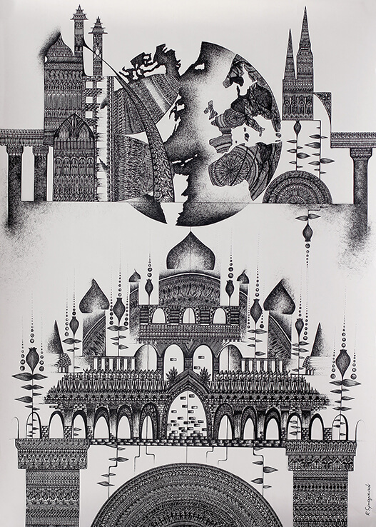 eternal changing surreal ornamental gel pen drawing for sale sacred temple different worlds