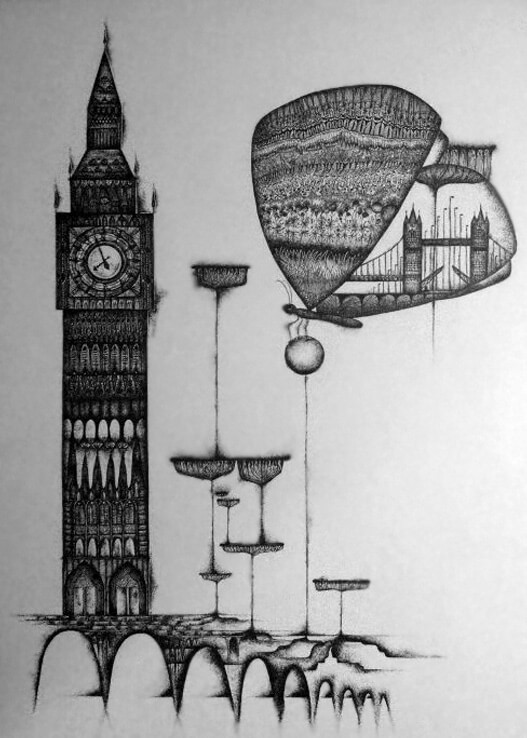 the mistake of reality perception london big ben and butterfly with universal plants surreal ornamental drawing