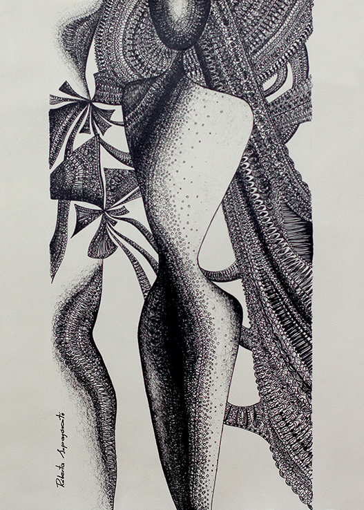 the law of universe spiritual artwork woman figure drawing long hair and flowers pen drawing