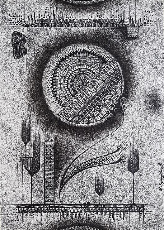 the flower of life original artwork to buy universe black gel pen