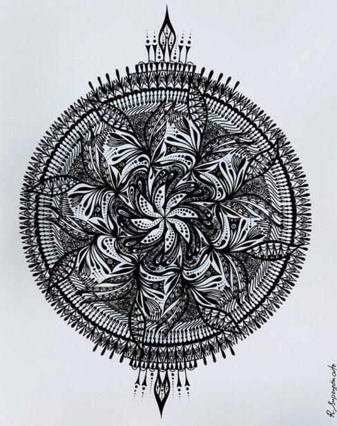 Spinning mandala floral design original artwork for sale