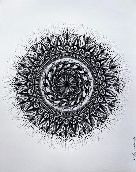 Mandala sunshine design original artwork for sale